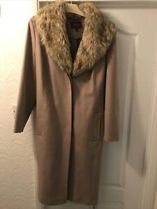 Alexon Women's Beige Wool Cashmere Blend Coat Faux Fur Collar UK 20 O217