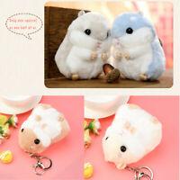 Cute Plush Hamster Pendant Key Chain Clasp Key Ring Keyring Handbag Decor Flower