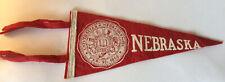 "Vintage Nebraska Cornhuskers University Mini Pennant 4x8.5"" w/ Tails 1869 Seal"