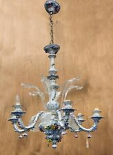 Vintage Capodimonte Italian Porcelain & Glass Chandelier