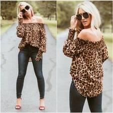 Women Sexy Off Shoulder Long Sleeve Tops Ladies Print Leopard Blouse Loose Shirt