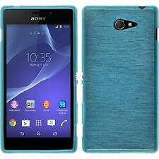 Coque en Silicone Sony Xperia M2 - brushed bleu + films de protection