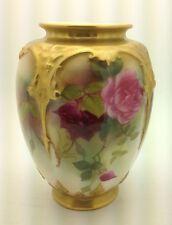 Royal Worcester Artist signed- EM Fildes handpainted porcelain vase roses