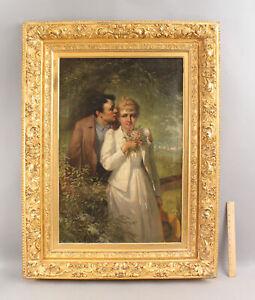 Antique 1893 JOHN WHITTAKER American Genre Romantic Couple Portrait Oil Painting