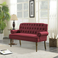 Mid-Century Upholstered Vintage Sofa Settee Couch Button Tufted, Burgundy