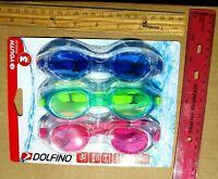 2 Pair Children/'s Swim Goggles Tinted Impact Resistant Lens Dolfino Ages 4 for sale online