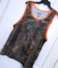 Mens Camouflage Trail Crest Tank Top Muscle Shirt Neon Orange trim size Large