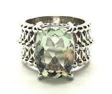 Sterling Silver 925 Emerald Cut Green Prasiolite Swirl Dotted Band Cocktail Ring