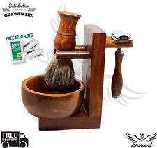 Shaving & Grooming Set |Safety Razor & Wood Handle Badger Brush| Men's Kit Gift