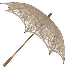 Ecru Parasol -  Ladies Vintage Victorian Edwardian Wedding Lace Sun Umbrella
