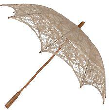 Ecru Parasol -  Ladies Vintage Victorian Edwardian Wedding Lace Sun Umbrella