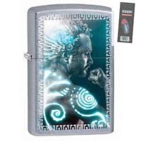 Zippo 28878 tribal man street chrome finish full size Lighter + FLINT PACK