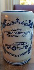 Vtg Delft Blue White Celica Mug Tankard Stein Toyota Dealer Meeting Dec.1981