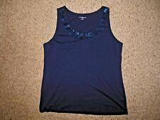 NEW Croft Barrow Woman XL Navy Blue Sequin Scoop Neck Knit Tank Top Shirt