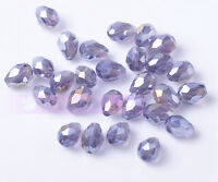 50pcs 7X5mm Crystal Glass Beads Facted Loose Beads  Free Shipping  Violet AB