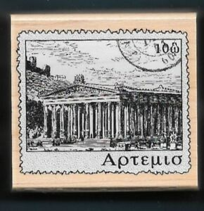 GREEK TEMPLE ZEUS OLYMPIA INTERNATIONAL POST Mail Hero Art A2435 Rubber Stamp