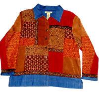 Bechamel Sz Petite M Womens Jacket Top Denim Jacquard Patchwork Boho Retro Look