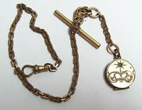 Antique Gold Filled Pocket Watch Chain & Etched Locket Fob SKM Co
