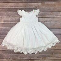 Laura Ashley Toddler Girl's 4 White Ruffled Pleated Crochet Lace Flare Dress