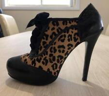 Mollini piel de leopardo negra amante Tacones 38 7 botín con Cordones Sexy  Zapato xcond 4f6dd75b65e