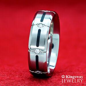 Men's Titanium Wedding Band Ring Black IP Striping Matte Polished Comfort Fit