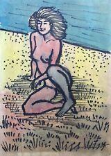 Aquarell Weiblicher Akt am Strand Female Nude at the Beach Blond FKK Expressiv