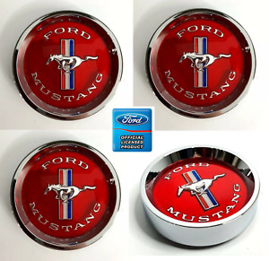 (Set/4) Tri-bar Pony Red Center Caps For 1965-66 Ford Mustang w/ Styled Hubcaps