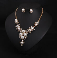 White Pearls Flowers Gold Diamante Necklace And Earrings Set Costume Jewellery