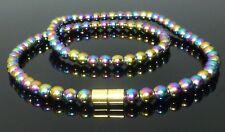 MAGNETIC RAINBOW HEMATITE NECKLACE 6mm beads