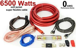 0 AWG GAUGE CAR AUDIO AMP AMPLIFIER WIRING CABLE KIT 6500 WATTS BIG POWER BASS
