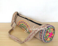 Large Indian Jute Portable Embroidered Yoga Mat Carry Bag With Shoulder Strap