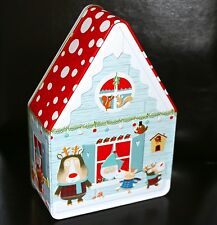 MARKS & SPENCER CHRISTMAS BISCUIT TIN HOUSE SHAPED FOREST ANIMALS CELEBRATIONS