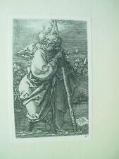 Albrecht DURER VINTAGE incisione su rame ST Christopher RIVOLTA A SINISTRA
