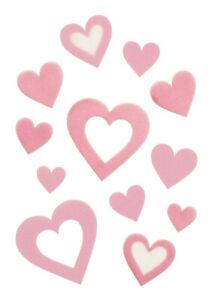 Valentine's Day Fondant Decor - Heart Cut Out Variety Shapes - Kosher 42pcs Pink