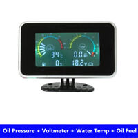 LCD 4 in 1Gauge Water Temper /Oil Pressure/Fuel/voltage For Car Truck Motorcycle