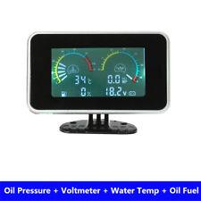 LCD 4 in 1Gauge Water Temper /Oil Pressure/Fuel/voltage For Car Truck Motorcycle