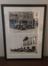 Pair of Antique Cleburne Fort Worth Texas Fire Station Photos Framed