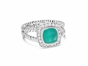 DAVID YURMAN PETITE ALBION 7MM GREEN ONYX DIAMOND STERLING SILVER RING SIZE 7