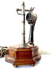 Rare Téléphone Antique Système Picart Lebas A Colonne Antic Phone Ancien Acajou
