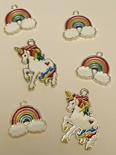 4x Silver Plated Rainbow Cloud Enamel and 2x Unicorn Pendant Charms Wholesale