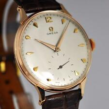 LARGE VINTAGE OMEGA 18K SOLID ROSE GOLD MANUAL WIND CAL 266 ELEGANT GENTS WATCH