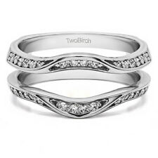 Silver Fancy Classic Style Contour Ring Guard Enhancer Wedding Band (0.44tw)