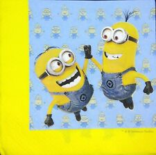 3 x Single Paper Napkins For Decoupage Craft Tissue Blue Yellow Minions M509