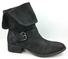 Donald J. Pliner Pita Black Distressed Nubuck Leather Cuffed Boots sz: US 8.5