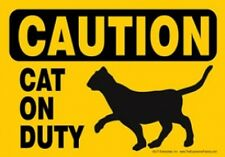 """Caution CAT on DUTY-Plastic Sign-Magnetic & Hook & Loop 5"""" x 7"""""""