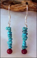 Sleeping Beauty Turquoise stacked chip & Coral Bugget dainty Earrings 0903T2