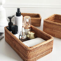 Rectangular Rattan Storage Basket Weaving Wicker Basket Bread Fruit Food Tray