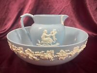 """Wedgwood Queensware Cream on Lavender Large 10"""" Serving Bowl & Creamer/Pitcher"""