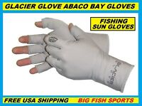 GLACIER ABACO BAY FINGERLESS FISHING SUN GLOVES PICK YOUR SIZE #009GY +50UPF