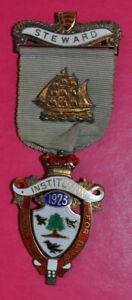 RMIB 1923 masonic festival stewards jewel Birmingham hallmark sterling silver